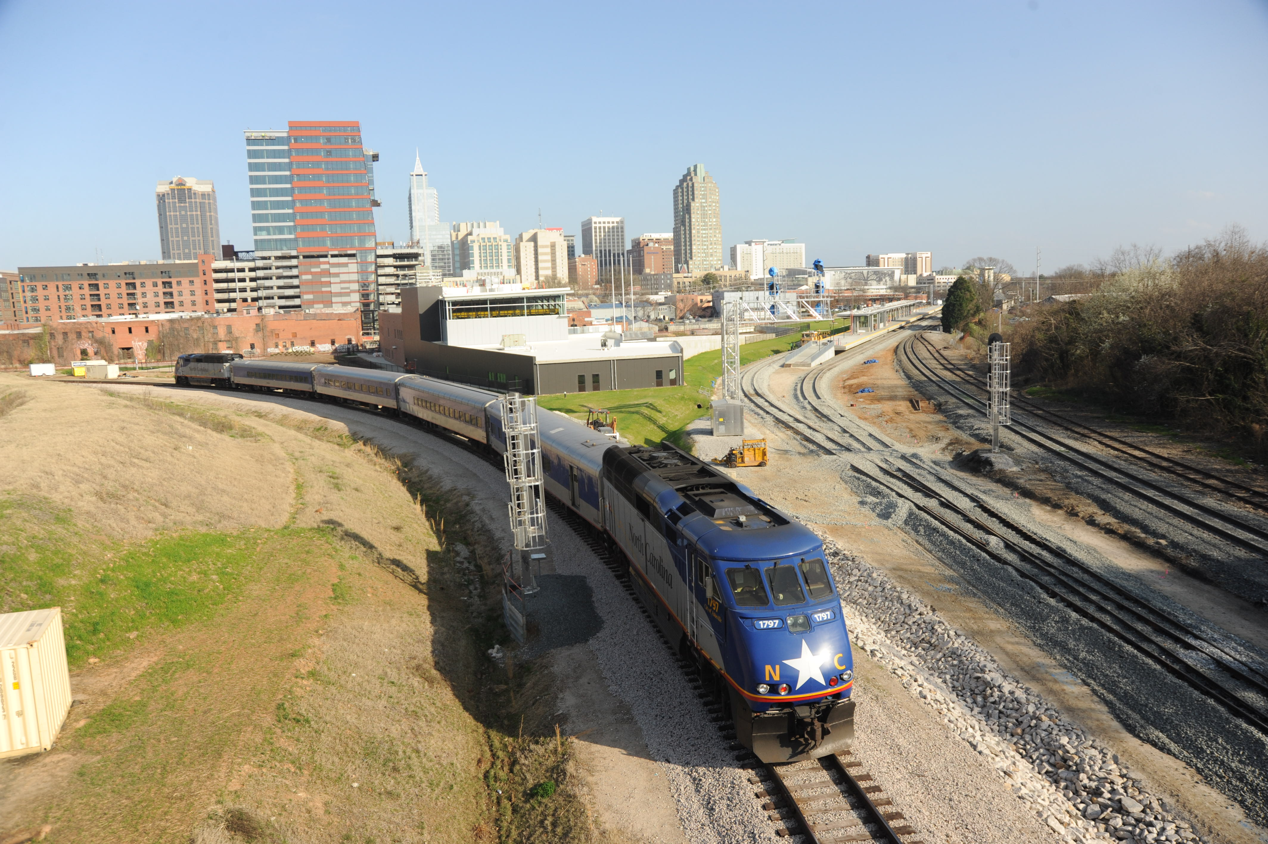 As We Were Wring Up The Tour Of Raleigh Construction Site One Piedmont Intrastate Trains From Charlotte Arrived At Cabarrus Avenue