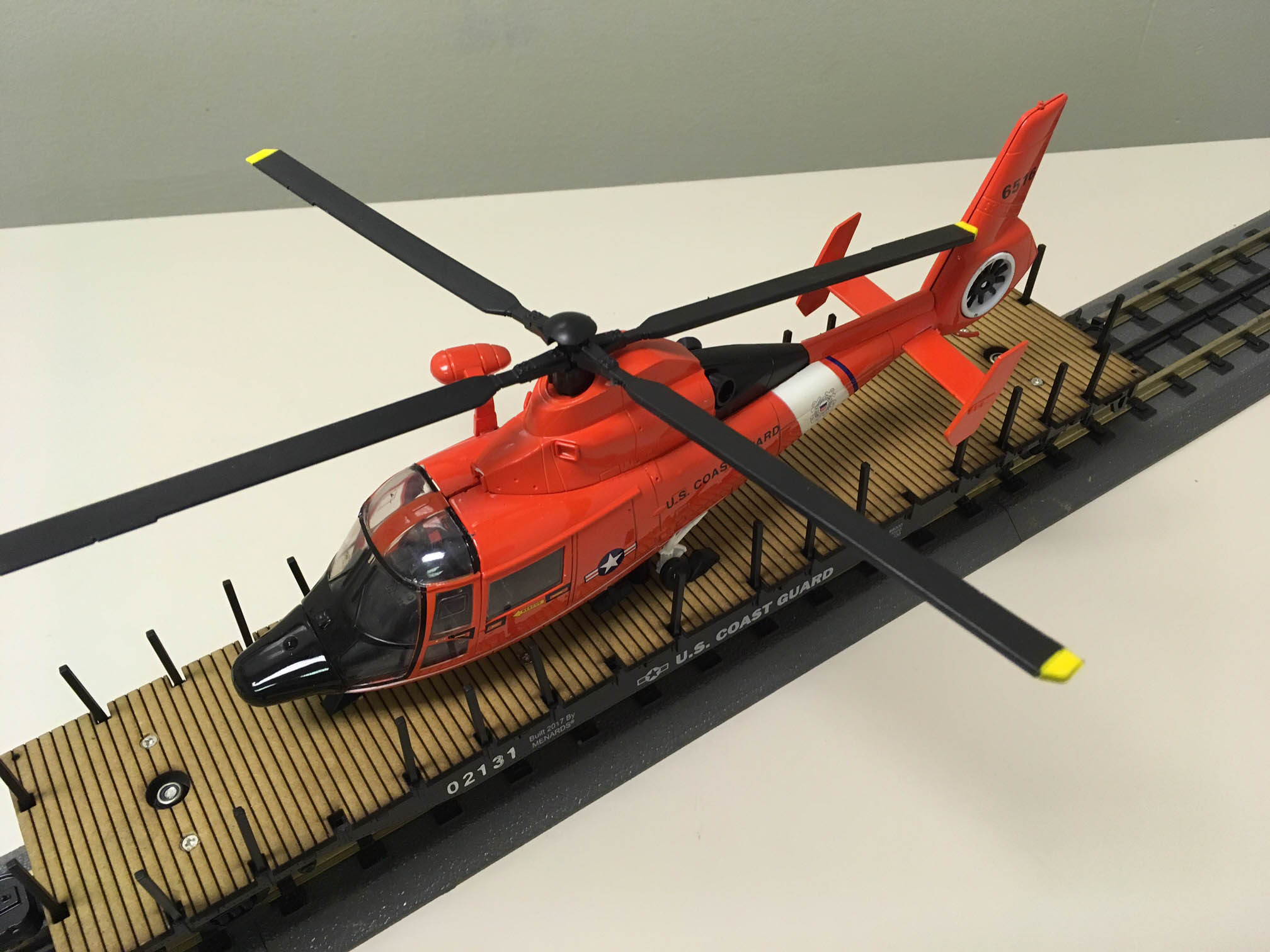 Sea Hunt: Flatcar with Coast Guard helicopter load from Menards
