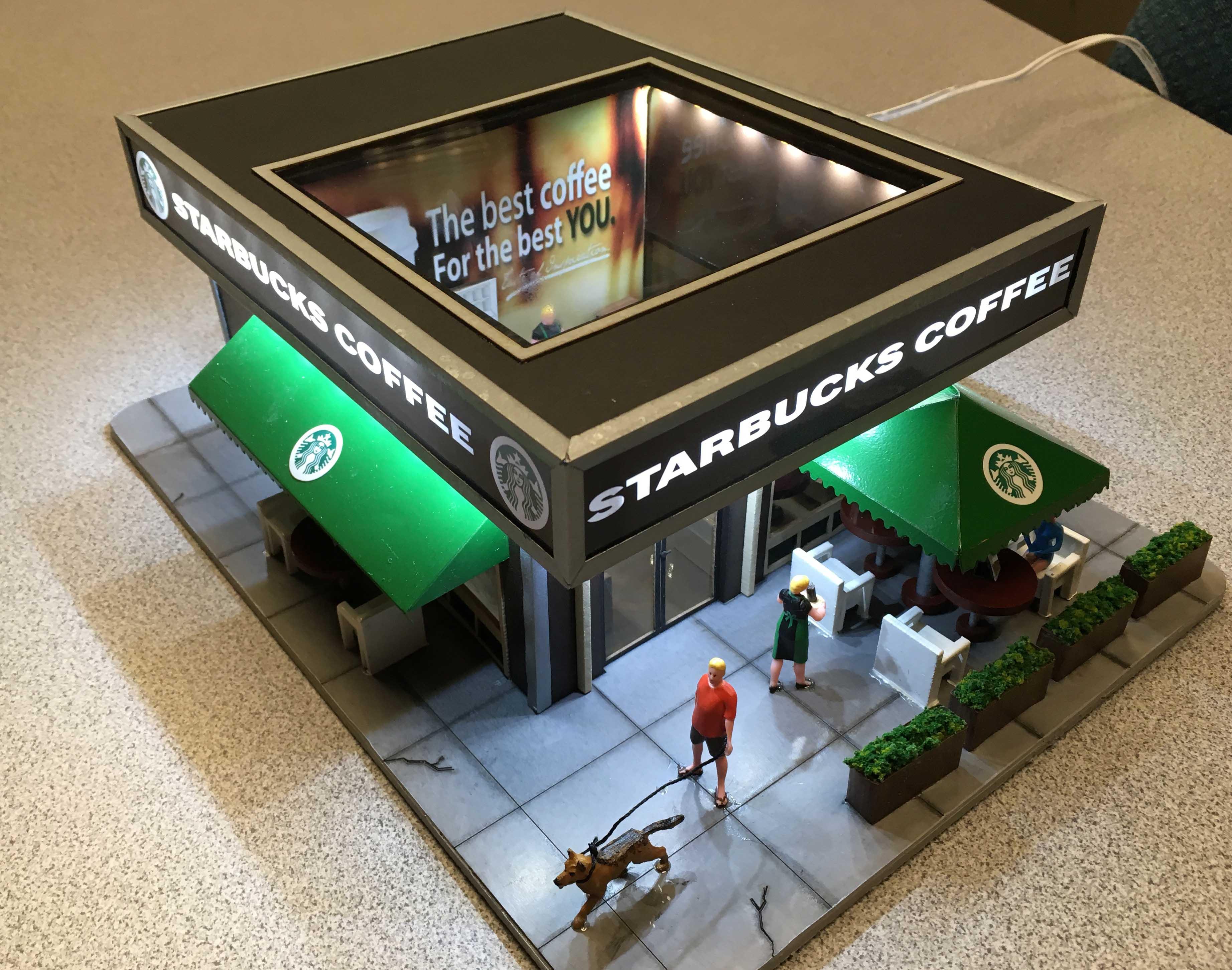 Menards  HO Gauge Starbucks Coffee Shop Building model train plus Free Gift !