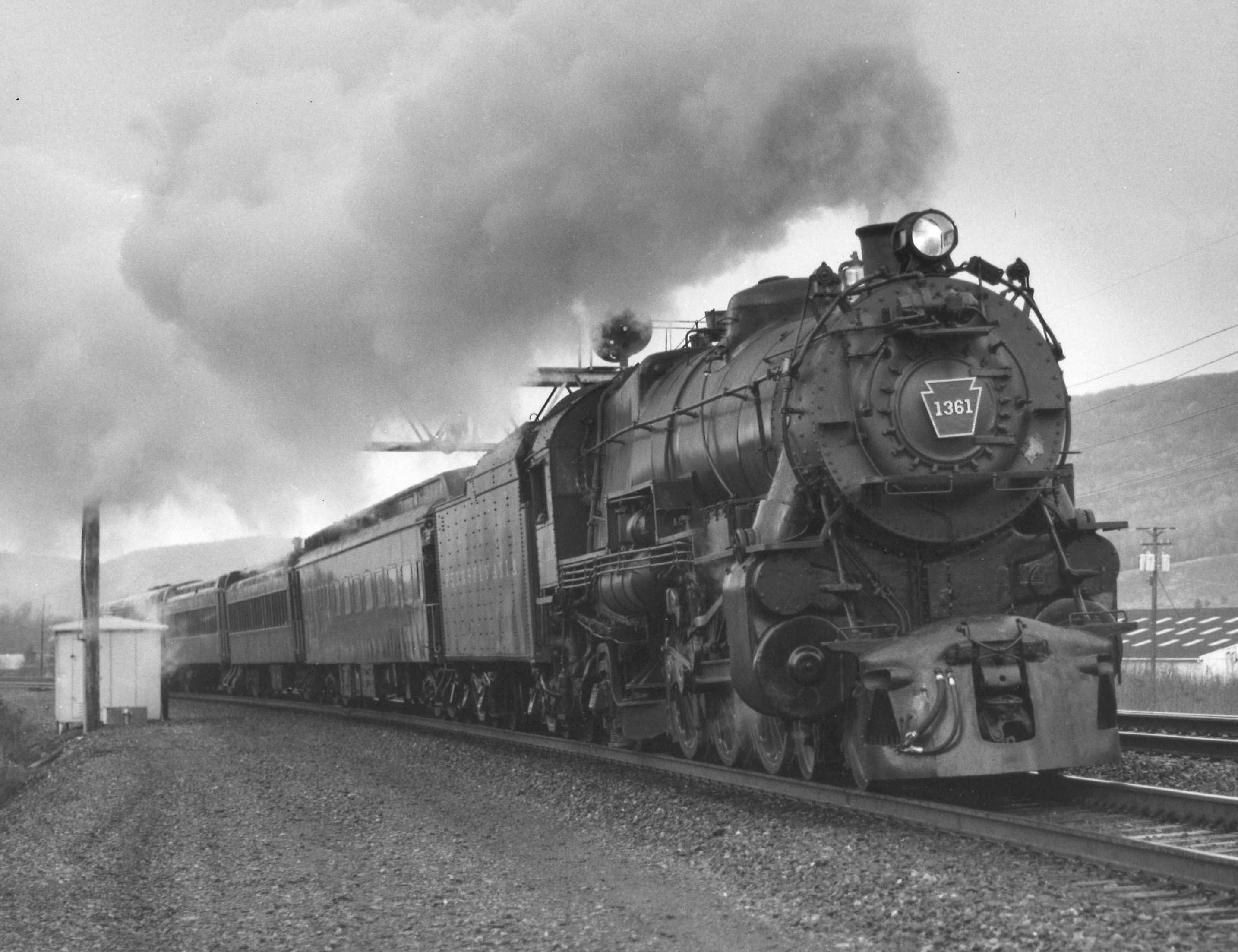 Pennsylvania K4s 1361 hurries along the old Middle Division between Tyrone  and Altoona, Pa., on its inaugural excursion run on April 12, 1987.